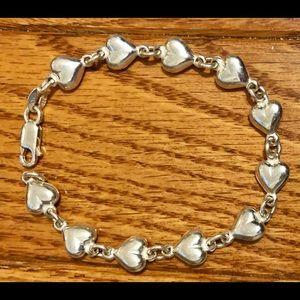 "Jewelry - Puffy Heart Ladies Sterling Silver 7"" Bracelet NEW"